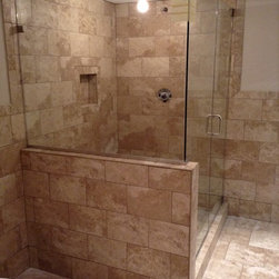 Frameless Shower Doors and More - 3 Pieces 1/2 clear Glass Door Notch Panel 90* Return Panel.