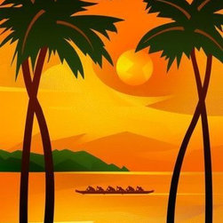 Wallmonkeys Wall Decals - People Rowing in Tropical Waters Wall Mural - 24 Inches H - Easy to apply - simply peel and stick!