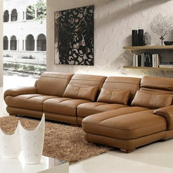Bombala Modern Leather Sectional - This Bombala Brown Leather Sectional brings versatility, comfort and style to your living room furniture collection.