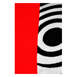 Rug - 3-Piece Red/White with black Living Room Area Rugs Set, Geometric & Machine Made - GEO COLLECTION