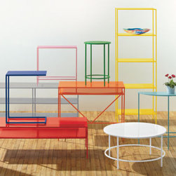 Slim Desks in Colors - This spectrum of colorful desks, shelves and more, with all of the colors and clean lines, just makes me happy.