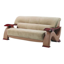 """Global Furniture - Sofa in Beige Fabric - What happens when you mix luxurious champion fabric with a rich leather look material? Perfection is the answer and you can have it with this froth colored contemporary sofa. Featuring curved angles and high gloss wood arms and feet you will surely mak; Materials: Fabric/PVC/Wood Legs; Color: Beige Fabric/Light Brown PVC/Mahogany Legs; Weight: 129 lbs; Dimensions: 78""""L x 38""""W x 33""""H"""