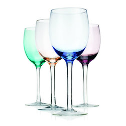 Home Essentials - Tuscana Assorted Colors White Wine Goblets - Add a stylish accessory to your party and set the festive mood with these adorable and unique white wine goblets. Our wonderful glasses combine festive party entertainment with contemporary style rendered in vibrant colors. Pair them with aqua blue, olive green, or pretty pinks for a fresh spring-inspired feel. Whether you're toasting with friends or family or celebrating an anniversary with loved ones, be sure these classic and versatile goblets are part of the fun! * Set of 4 * Capacity: 16 oz