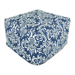 Majestic Home - Outdoor Navy Blue French Quarter Large Ottoman - Roomy and comfy with a stylish French-inspired print, this ottoman could quickly become one of the most coveted items in your house. You'll be pulling it out for an impromptu coffee table on the deck, an extra seat for your kid's buddy on movie night or a cushy footrest for the recliner. The beanbag filling is 50 percent recycled beads and the cover is safe for outdoors and removable for easy cleaning.