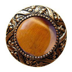 "Notting Hill - Notting Hill Victorian Jewel/Tiger Eye Knob - 24K Gold Plate - Notting Hill Decorative Hardware creates distinctive, high-end decorative cabinet hardware. Our cabinet knobs and handles are hand-cast of solid fine pewter and bronze with a variety of finishes. Notting Hill's decorative kitchen hardware features classic designs with exceptional detail and craftsmanship. Our collections offer decorative knobs, pulls, bin pulls, hinge plates, cabinet backplates, and appliance pulls. Dimensions: 1-5/16"" diameter"