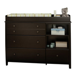 South Shore - South Shore Little Smiley Changing Table in Espresso - South Shore - Baby Changing Tables - 3759337 - This Little Smiley's Changing table in Espresso (Chocolate)  finish will add a traditional touch to your baby's room with its decorative groove on the upper drawer its recessed sides and wooden knobs in Chocolate finish. It features 2 open storage spaces including 1 detachable shelf 3 large drawers on the left and a smaller one on the right equipped with metal slides. In addition the changing table features rounded contours and a secure front panel for more safety.  The changing station is also removable allowing for a transformation into a handsome chest that you will enjoy using for years to come. The large drawers dimension are 25-1/2-inch wide by 13-3/4-inch front to back by 5-1/4-inch high and 13-1/2-inch wide by 13-3/4-inch front to back by 5-1/4-inch high for the small one. See the spec sheet for complete dimensions. New and improved drawer bottoms made with wood fibers. Changing pad and accessories not included. Weight of the child should not exceed 30 pounds. It meets or exceeds all US Consumer Product Safety Commission Standards and conforms to ASTM standards (ASTM F2388).Manufactured from certified Environmentally Preferred laminated particle panels. Complete assembly required by 2 adults. Tools are not included.  5-Year limited warranty.
