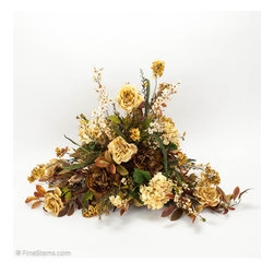 Cream & Gold Centerpiece Arrangement - Cream & Gold Centerpiece Arrangement. A combination of taupe/gold larkspur, open rose and hydrangea with moss green peony and brown laurel leaf. For added texture just a few cream berry.