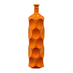 "Benzara - Ceramic Bottle With Circular Embedded Design Body in Orange (Large) - A multiversatile decor item that will enhance and accentuate your interior decor, the Unique Ceramic Bottle With Thin Mouth and Circular Embedded Design Body in Orange (Large) features a lovely slim mouth and a stylish circular embedded design on its body. This ceramic bottle can be used as a standalone decor item or be paired with flowers to decorate and add color to your mantle place, desk or table. The dimensions of the Unique Ceramic Bottle With Thin Mouth and Circular Embedded Design Body in Orange (Large) are 5.5""x22""H. Ceramic; Orange; 5.5""x22""H; Dimensions: 0""L x 6""W x 22""H"