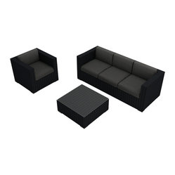 Harmonia Living - Urbana 3 Piece Modern Wicker Sofa Set, Charcoal Cushions - Turn your patio or deck into an outdoor entertainment center with this sofa, chair and table set. Each piece is made of high-density, polyethylene wicker that weathers the elements beautifully, so you can keep the party going outdoors year-round.