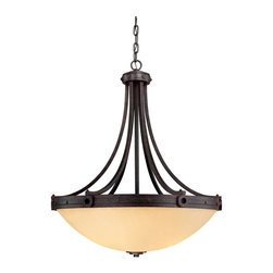 Savoy House Lighting - Savoy House 7-2016-4-05 Elba 4 Light Pendant, Oiled Copper - Oversized candle sleeves and long, clean lines, and a chunky riveted detail all finished in Oiled Copper add to the authenticity of this forged iron piece.