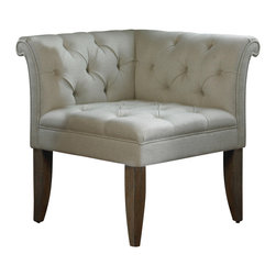 "Uttermost - Uttermost Tahtesa Corner Chair - Tahtesa Corner Chair by Uttermost Classic, Chesterfield Tufting And Pleated Roll Arms In A Bright Ecru, Textural Linen Blend, Set In Confident Style On Robust Yet Shapely Tapered Legs. Showing Both Fine Wood Grain And Layers Of Hand Finishing And Distressing, This Chair Embodies Timeworn, Ageless Elegance. Seat Height Is 19.5""."