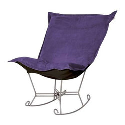 """Howard Elliott Bella Eggplant Puff Scroll Rocker - Titanium Frame - If you have ever sat in our Puff Chair, you would ask yourself, """"What could possibly make this chair more comfortable?"""" Well the Puff Chair in our Bella Fabric is the answer. This super lush fabric in rich vivid colors will make the Puff Chair THE most comfortable and soft chair you have ever sat in!"""