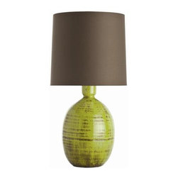 Arteriors - Arteriors Vince Organic Electric Moss Crackle Terracotta Lamp - Chocolate Brown Cotton Shade with White Cotton Lining.
