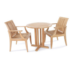 Westminster Teak Furniture - Laguna Teak Bistro Set - The refined luxuriousness of this teak furniture set has durability but also elegance in mind. Invite your guests to join you all season at your outdoor or indoor teak set to celebrate, entertain or just relax.