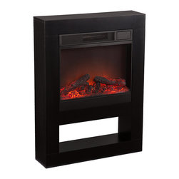 Mofta Electric Fireplace Black - Add the romantic look of a fireplace without breaking a sweat with this Mofta electric fireplace in black or white. Bring valuable warmth in chic style that's perfect for any room in the home. Especially cozy in the bedroom or office, this fireplace plugs into a standard outlet with an included power cord and has low and high heating settings and a convenient remote control. An open shelf underneath is perfect for a stack of books to create a classy and appealing look.