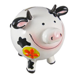 Round Black / White Spotted Dairy Cow Coin Bank - This 'udderly' adorable white and black spotted cold cast resin Holstein cow money bank features orange flowers on her front and back. She measures 4 1/2 inches tall, 4 inches wide and 4 3/4 inches long. The bank empties via a rubber plug on the bottom. She is hand-painted, and makes a great gift for anyone who loves dairy cows, or anyone wanting to encourage a savings habit.