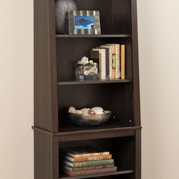 Prepac - Espresso Slant-Back Bookcase - The gently sloping design of the Slant-Back Bookcase adds a modern twist to a classic look. With six shelves worth of storage for books, decorative items and more, this bookcase is indispensable to any room. At 13-inches deep, the lower compartment is ideal for binders and with the adjustable shelf removed, there is room for oversized books and other large items. Arrange multiple bookcases together for a customized library.; Modern slanted design; 13-inch deep lower compartment includes one adjustable shelf; Upper compartment includes 2 adjustable shelves; Two or more units can be positioned side-by-side to create a library wall for increased storage; Finished in durable rich espresso laminate; Constructed from CARB-compliant, laminated composite woods; Ships Ready to Assemble, includes an instruction booklet for easy assembly and has a 5-year manufacturers limited warranty on parts; Proudly manufactured in North America; Assembled Dimensions: 26-1/4w x 80h x 14-1/4d