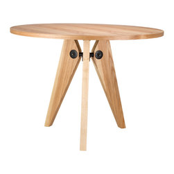 Locust Dining Table - Embrace the warm and varied tone of natural wood with this handsome round table. The tripod legs meet with contrasted hardware in matte black.
