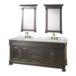 "Wyndham - Andover 72"" Traditional Double Bathroom Vanity Set - Antique Black - A new edition to the Wyndham Collection, the beautiful Andover bathroom vanity series represents an updated take on traditional styling. The Andover is a keystone piece, with strong, classic lines and an attention to detail.; The vanity and solid marble countertop are hand carved and stained. Available in Black and Dark Cherry finishes to match any decor. Available in a range of single or double vanity sizes to fit any bathroom.; Antique Black Finish; Includes Solid Marble Counter - White Carrera; Includes White Porcelain Basins; Includes Backsplash; Includes Matching Mirrors; Fits 72 inch space; Faucets not included; Constructed of environmentally friendly, zero emissions solid oak wood, engineered to prevent warping and last a lifetime; Dimensions: Vanity 72 x 23 x 35; Mirror 28 x 41"