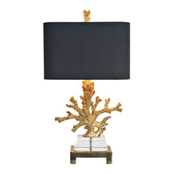 "Couture - Coastal Couture Coral Gold and Brass Table Lamp - The faux coral of this contemporary coastal table lamp is constructed of cast resin in a rich gilt gold finish and sits upon stacked optic crystal with a brushed brass finish metal base. A rectangular shade of black silk has rounded corners and a contrasting gold foil lining. Update your home lighting decor with this beautiful and stylish design. Elegant faux coral table lamp. Gilt gold finish faux coral. Resin optic crystal and metal construction. Black silk square corner rectangle shade with gold foil lining. Brushed brass finish metal base. Takes one maximum 100 watt or equivalent bulb (not included). Rotary switch. 25 1/2"" high. Shade is 14"" wide and 9"" deep across the top and bottom and 9"" high. Base is 7"" wide and 5"" deep.    Elegant faux coral table lamp.  Gilt gold finish faux coral.  Resin optic crystal and metal construction.  Black silk square corner rectangle shade with gold foil lining.  Brushed brass finish metal base.  Takes one maximum 100 watt or equivalent bulb (not included).  Rotary switch.  25 1/2"" high.  Shade is 14"" wide and 9"" deep across the top and bottom and 9"" high.  Base is 7"" wide and 5"" deep."