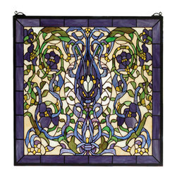 "Meyda Tiffany - 22""W X 22""H Floral Fantasy Stained Glass Window - Ribbons and leaves of Green and Plum Blue twine around lovely Violet flowers on an Ivory background. Made of 680 pieces of hand cut stained glass, this lovely Tiffany style window is handcrafted utilizing the copper foil construction process. A solid brass hanging chain and brackets are included."