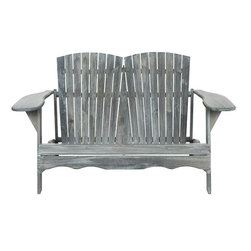 Home Decorators Collection - Acacia Wood 2-Seat Adirondack Bench - For cozy outdoor seating for two, try our Acacia Wood 2-Seat Adirondack Bench. The rustic-style construction of this all-weather loveseat features two plank seat backs arrayed in gentle fans. Acacia wood with your choice of finish. White and grey finishes are painted. Teak finish is Durva© wood oil. Galvanized hardware in silver. All-weather construction.