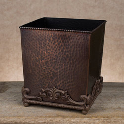 GG Antique Copper Hammered Metal Wastebasket - Coordinate with the matching GG Antique Copper Bathroom Collection; the classic look of the hammered metal on the wastebasket will match almost any bathroom decor