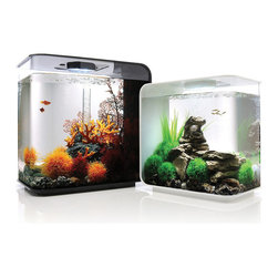 Frontgate - Biorb Flow Aquarium - Quiet operation adds calm to your home or office. Utilizes five biological, mechanical, and chemical filtration stages to keep water clear. Extra-thick, crystal clear acrylic face. Built-in 12V LED light. Easy set-up. Contemporary, compact design makes this set ideal for a desk, bookcase, or similarly nontraditional space, while attractive aquascaping and LED lighting add to its aesthetics. Designed to house small fish or shrimp, the aquarium uses a high-performance filtration system to keep water clear and free of pollutants.  .  .  .  .  .