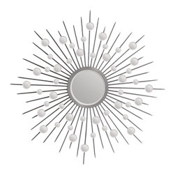 Ren-Wil - Silver Sunburst Circular Mirror - This uniquely shaped starburst mirror is reminiscent of classic 70's decor. Small circular mirrors with polished and beveled edges adorn the silver plated frame. This sharp design will surely make a statement in your home.