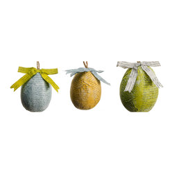 Recycled Paper Mache Easter Egg Ornament - Shabby chic Easter egg ornament
