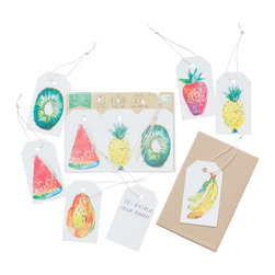 Yellow Owl Workshop - Set of 6 Fruit Gift Tags - An inventive format with 6 tags and strings. Use these colorful tags as gift tags, place cards, glass tags, and anything else you can think of! Quality linen cardstock, with holes punched to attach cotton strings, are perforated at the top for easy removal.