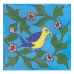 "Knobco - Tiles 4X4"" Blue, Yellow Bird & Pink Flower, Green Leaf W/ Turquoise Base - Blue,Yellow Bird and Pink Flower, Green Leaf with Turquoise Base Tiles from Jaipur, India. Unique, hand painted tiles for your kitchen or other tiling project. Tile is 4x4"" in size."