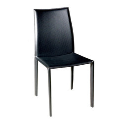 Baxton Studio - Baxton Studio Rockford Black Leather Dining Chair - This dining chair set will make an excellent addition to your dinette or dining room. These chairs are simple and will go well with a variety of different decorating styles. Durable bonded leather upholstery for longer lasting use and stain resists for easy clean up. Chair constructed with sturdy steel frame lightly padded with high density foam for added comfort.