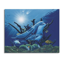 """Ready2HangArt - Ready2hangart David Dunleavy 'Day Dreaming' Canvas Wall Art, 16"""" X 20"""" Inch - This beautiful canvas wall art brought to you by Ready2hangart from renowned artist David Dunleavy exemplifies his passion for marine life while translating it to detailed underwater paintings.  It is fully finished, arriving ready to hang on the wall of your choice."""