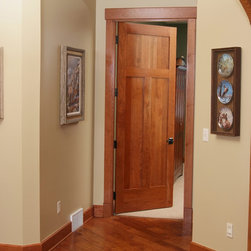 Cherry Shaker Style Interior Door - American Cherry 3 panel Shaker style interior door with contemporary cherry casing.
