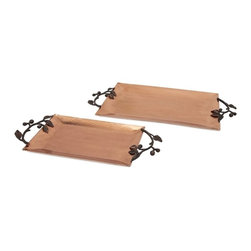 IMAX - Rosena Copper Plated Trays - Set of 2 - A pair of rectangular copper-plated trays are embellished with hammered detail. Sprays of black metal leaves form the handles for a nature-inspired look right at harvest or anytime.