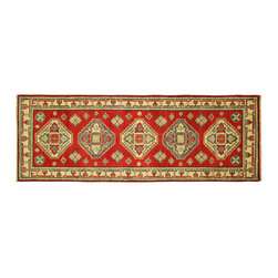 Manhattan Rugs - New Fine Super Kazak Medallion Style 2'x6' Pure Red Hand Knotted Wool Rug H5930 - Kazak (Kazakh, Kasak, Gazakh, Qazax). The most used spelling today is Qazax but rug people use Kazak so I generally do as well.The areas known as Kazakstan, Chechenya and Shirvan respectively are situated north of  Iran and Afghanistan and to the east of the Caspian sea and are all new Soviet republics.   These rugs are woven by settled Armenians as well as nomadic Kurds, Georgians, Azerbaijanis and Lurs.  Many of the people of Turkoman origin fled to Pakistan when the Russians invaded Afghanistan and most of the rugs are woven close to Peshawar on the Afghan-Pakistan border.There are many design influences and consequently a large variety of motifs of various medallions, diamonds, latch-hooked zig-zags and other geometric shapes.  However, it is the wonderful colours used with rich reds, blues, yellows and greens which make them stand out from other rugs.  The ability of the Caucasian weaver to use dramatic colours and patterns is unequalled in the rug weaving world.  Very hard-wearing rugs as well as being very collectable