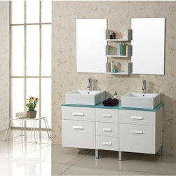 "Virtu USA - Virtu USA Maybell 56"" Double Sink Bathroom Vanity - White - The Maybell vanity is the perfect fixture for any modern bathroom design. Vanity is constructed from solid Eco-friendly rubberwood, a hardwood with similar properties to maple wood. The tempered safety-glass countertop beautifully compliments the White cabinet finish options. The vanity features abundant storage with soft closing mechanisms in both door hinges and drawer slides. The Maybell set comes complete with the mirrors, shelves and top quality faucets. This beautiful vanity is a great choice in any bathroom design. FeaturesMain Cabinet: 56.3"" W x 19.5"" D x 34.5"" HMirrors: 19.6"" W x 31.5"" HSolid RubberwoodTempered Glass CountertopWhite Cabinet FinishWater Resistant Low V.O.C SealerZero Emissions Solid RubberwoodAdjustable hinges and slides2 Doors with Concealed Soft Closing Hinges5 Doweled Drawers with Soft Closing Slides3 Mirror ShelvesBrushed Nickel HardwarePS-103 Faucets with Pop Up and Drain Assembly IncludedCUPC, UPC and IAPMO Certified Faucet with Limited Lifetime WarrantyLead-Free Faucet compliant with AB1953 and S152 Eco-Friendly WaterSense certified 1.5 GPM flow rateDesigner Vessel Mount BasinsAssembly RequiredVirtu 2 Year WarrantyVirtu USA reserves the right to repair, replace or refund any products resulting from a manufacturer's defect.How to handle your counterView Spec Sheet"