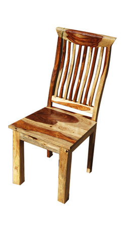 Sierra Living Concepts - Solid Wood Dallas Mission Back Ergonomic Dining Chair - After a full day on the open range, you'll appreciate the comfort of our Solid Wood Dallas Mission Back Ergonomic Dining Chair. This solid wood dining chair is made with Indian Rosewood, a top quality hardwood. It features a wide seat, vandana stain and a specially designed back. This cutting edge design works as a conference room, study, or dining room chair.
