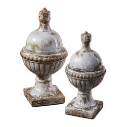 Uttermost - Sini, Finials, Set Of 2 - Ceramic finials featuring a heavily distressed, powder blue finish with antiqued khaki undertones. Sizes: Sm-6x12x6, Lg-7x14x7