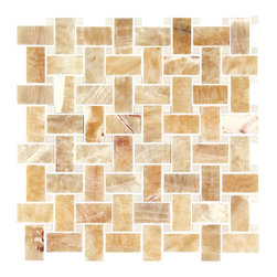 Stone & Co - Honey Onyx - Thassos White Marble Polished Premium Basketweave Mosaic Tile - Finish: Polished