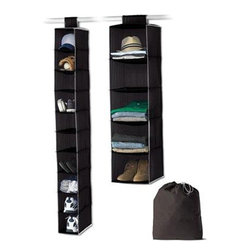 Home Products - Closet Value 3-Piece Set, Black by HOMZ - Our black 3-Piece hanging storage set includes a hanging shoe organizer, sweater organizer, laundry bag and is a perfect starter kit or set for the dorm.
