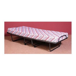 Linon - Metal Folding Rollaway Bed w Multicolored Mat - Versatile and functional, this Verona Folding Bed is an essential at home / on the go accessory.  Solid metal frame provides firm sleeping surface and optimum support.  Simple setup and easy breakdown define this quality offering.  Fold up into ultra-thin profile, easily storing in most closets.  For added style, fabric is finished with lively multi-colored ticking. Verona Collection. Item includes the steel frame and mattress. Bed sets up in mere seconds. Casters for easy mobility. 5 in. spring mattress. Made of powder-coated spring mesh metal frame. No assembly required. 74.8 in. L x 31.5 i