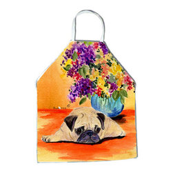 Caroline's Treasures - Pug Apron SS8294APRON - Apron, Bib Style, 27 in H x 31 in W; 100 percent  Ultra Spun Poly, White, braided nylon tie straps, sewn cloth neckband. These bib style aprons are not just for cooking - they are also great for cleaning, gardening, art projects, and other activities, too!