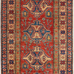 """ALRUG - Handmade Red/Rust Oriental Kazak Runner 2' 10"""" x 14' 10"""" (ft) - This Afghan Kazak design rug is hand-knotted with Wool on Cotton."""