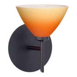Besa Lighting - Domi Bronze One-Light Bath Fixture with Bicolor Orange/Pina Glass - - Domi has a classical bell shape that complements aesthetic, while also built for optimal illumination. Our Orange/Pina Bicolor glass combines muted orange and yellow tones onto a pressed glass. This glass is rich with colors that blend and fade into one another. The soft colors have a low key harmonious display that illuminates a warm mood. The smooth satin finish on the clear outer layer is a result of an extensive etching process. This handcrafted glass uses a process where every glass is consistently produced using a press mold, keeping variations to a minimum. The mini sconce is equipped with a decorative lamp holder mounted to either a low profile round or square canopy. These stylish and functional luminaries are offered in a beautiful brushed Bronze finish.  - Bulbs included: Yes  - Canopy/Fitter Height: 5-inches  - Canopy/Fitter Diameter/Width: 5-inches  - Height from center: 4.25  - : NOTICE: Due to the artistic nature of art glass, each piece is uniquely beautiful and may all differ slightly if ordering in multiples. Some glass decors may have a different appearance when illuminated. Many of our glasses are handmade and will have variances in their decors. Color, patterning, air bubbles and vibrancy of the d�cor may also appear differently when the fixture is lit and unlit. Besa Lighting - 1SW-1743OP-BR