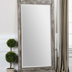 "Uttermost - Valcellina Wooden Leaner Mirror - Frame Is Made Of Weathered Wood Covered In A Distressed Ivory Gray Finish. Mirror Features A Generous 1 1/4"" Bevel. May Be Hung Horizontal Or Vertical. Uttermost's Mirrors Combine Premium Quality Materials With Unique High-style Design. Overall Dimensions: 4.75""D x 38""W x 74""H; Mirror/Glass Depth: 0.187""; Mirror/Glass Width: 30""; Mirror/Glass Height: 60"""