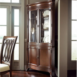 "American Drew - American Drew Cherry Grove New Generation Corner China Cabinet Multicolor - ADL4 - Shop for China from Hayneedle.com! Showcase your favorite china or collectibles with the traditional style of the American Drew Cherry Grove New Generation Corner China Cabinet. This cabinet features a space-saving corner design and is crafted from hardwood solids and cherry veneers. A Brown Cherry finish enhances the natural wood grain. It also features glass front doors glass shelves interior lighting and spacious storage options. It s the perfect way to show off some of your precious items without sacrificing valuable dining space.About American DrewFounded in 1927 American Drew is a well-established leading manufacturer of medium- to upper-medium-priced bedroom dining room and occasional furniture. American Drew's product collections cover a broad variety of style categories including traditional transitional and contemporary. Their collections range from the legendary 18th-century traditional ""Cherry Grove "" celebrating its 42nd year of success to the extremely popular ""Bob Mackie Home Collection "" influenced by the world-renowned fashion designer Bob Mackie. ""Jessica McClintock Home"" features another beloved designer bringing unique style to an American Drew line. American Drew's headquarters are located in Greensboro N.C. Their products are distributed through thousands of independently owned retailers throughout the United States and Canada and around the world."