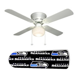 "Seattle Seahawk 42"" Ceiling Fan and Lamp - 42-inch 4-blade ceiling fan with a dome lamp kit that comes with custom blades. It has a white flushmount fan base. It has an energy efficient 3-speed reversible airflow motor for year long comfort. It comes with complete installation/assembly instructions. The blades can be cleaned with a damp cloth. It is made with eco-friendly/non-toxic products. This is brand new and shipped in the original box. This is not a licensed product, but is made with fully licensed products. Note: Fan comes with custom blades only."