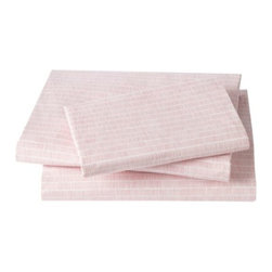 DwellStudio - Matchstick Sheet Set by DwellStudio - Pretty, pink and graphic sheets to complete your child's bedding set. The pattern of the DwellStudio Matchstick Sheet Set includes numerous rows of fine Blossom-colored dashes. The set is made out of soft and smooth 200 thread count cotton percale. Available in Twin and Full sizes. DwellStudio, founded in 1999 by Christiane Lemieux, specializes in home furnishings steeped in modern design. With a unique sense of color and a strong commitment to quality and innovation, DwellStudio continues to create its own distinctive interpretation of modern home furnishings. In the same creative spirit, the company encourages their customers to experiment with mixing various DwellStudio textile lines together.